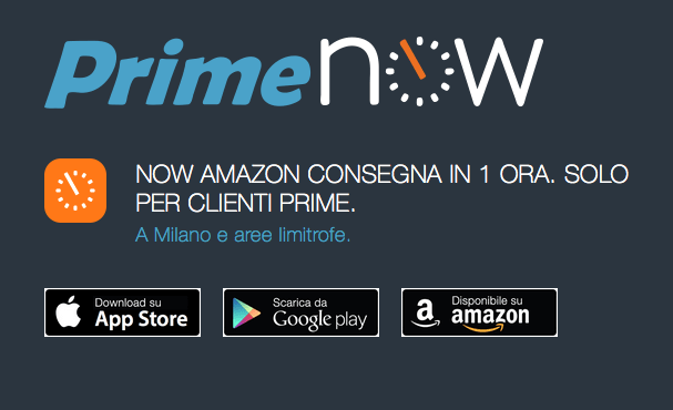 amazon prime now in Italia