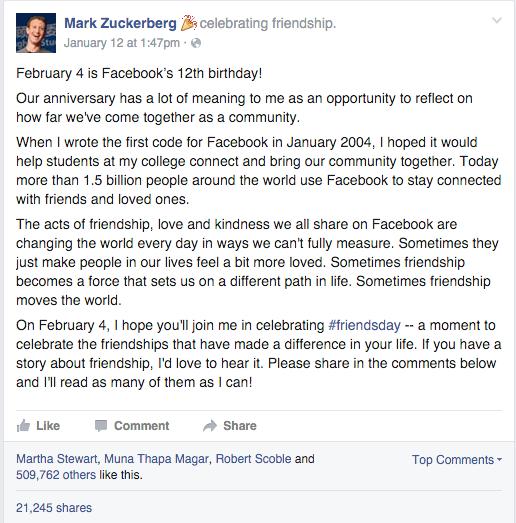 compleanno fb post zuckerberg